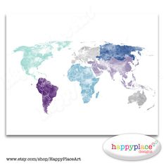 Large World Map Wall Art Poster with Custom Textured Colour. Printable Digital Watercolour Map. Personalised Custom Text avail on request.