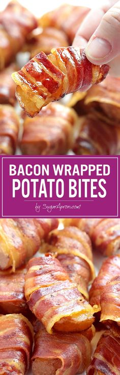 Bacon Wrapped Potato Bites – Sugar Apron The most amazing potato wedges/bites ever. It's so good, you'll want to double or triple the recipe! Fancy Party Appetizers, Quick Appetizers, Appetizer Recipes, Snack Recipes, Cooking Recipes, Vol Au Vent, Tapas, Bacon Wrapped Potatoes, Party Food Buffet
