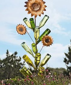 Bottle Tree Sunflowers