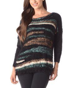 Look what I found on #zulily! Black & Blue Stripe Sweater #zulilyfinds
