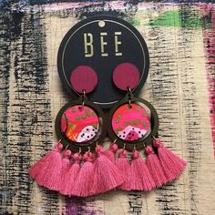 'Bee' Camden Drop Earrings - Pink