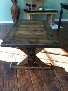 wooden rectangular coffee table #rustic #wood #markelwoodwoodwork