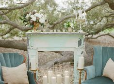 outdoor setting using mantel and upholstered chairs