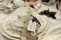 pretty tea trio at a vintage wedding fair