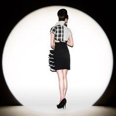 50334242a0 Items similar to Black White High Waist Side Ruffled Romantic Mini Skirt on  Etsy