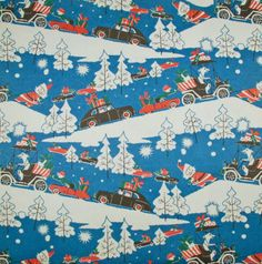 Vintage Christmas Gift Wrap ~ Santa's Car Caravan