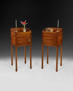 So rare and useful , a real pair of George III Mahogany bedside cabinets.