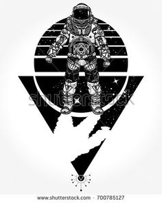 Astronaut tattoo and t-shirt design. Astronaut in space, tattoo. Cosmonaut in deep space triangular style t-shirt design. Spaceman tattoo art