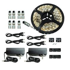 LEDwholesalers 5m (16.4ft) Single Color 300x3528SMD LED Strip Kit with Inline Dimmer and Power Supply, Warm White 3100K, 2026WW-31K+3318+3228 - Led Household Light Bulbs - Amazon.com
