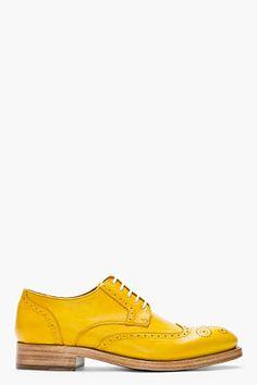 Kenzo Mustard Yellow Leather Elliott Wingtip Brogues for men   SSENSE
