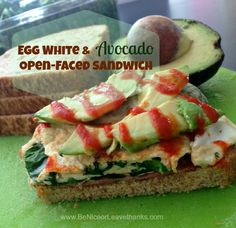 The Ultimate Pre-Workout Protein Sandwich: egg whites, turkey bacon, greens and avocado