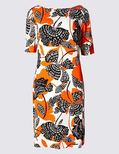 Floral Print Half Sleeve Tunic Dress | Marks & Spencer London