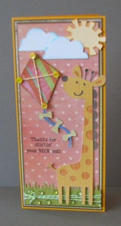 "CREATE A CRITTER Giraffe p. 48 cut @ 6 1/2""; Clouds p. 52 cut @ 1 1/2"" and inked around edges with blue chalk ink; Kite p. 48 cut @ 4 1/2""; DOODLECHARMS Sun p. 96 cut @ 1 1/2"""