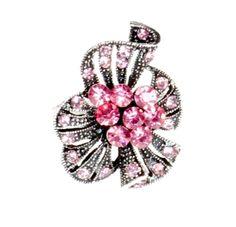 Pierścionek Vintage z Różowymi Kryształkami Rose #ring #vintage #pierscionek