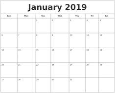 36 best january calendar 2019 printable images in 2018
