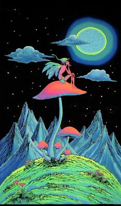 Trippy Wall Art Mushroom Fairy Psychedelic Tapestry Trippy Wall Hanging Uv Active Batik Wall Hanging Shrooms Black Light Art Decor - Yoga is a group of physical Trippy Drawings, Psychedelic Drawings, Art Drawings, Image Psychedelic, Psychedelic Tapestry, Psychedelic Space, Arte Dope, Dope Art, Dope Kunst