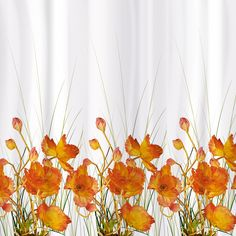 Tatkraft French Poppies Shower Curtain 180X180 Cm Waterproof Peva Material  With 12 Oval Shower Rings