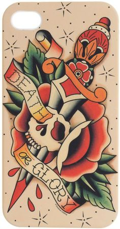 Death Or Glory iPhone Case Traditional Tattoo Flash Art Skull Dagger Rose  Rockabilly http://www.inkedboutique.com
