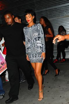 Rihanna's Club 48 Rihanna for River Island Occult Print Bodycon Dress and Roberto Cavalli Sandals