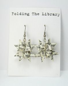 Recycled Book Paper Earrings  Froebel Star by FoldingTheLibrary, $15.00