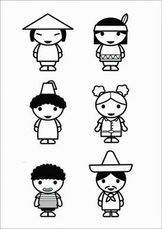 Coloring Page children - cultures - free printable coloring pages Free Coloring Sheets, Free Printable Coloring Pages, Elsa Beskow, Easy Cartoon Drawings, Les Continents, Simple Cartoon, Child Day, Teaching Materials, Primary School