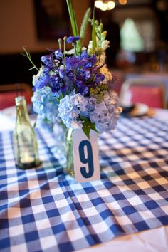 Blue And White Buffalo Check Tablecloth  Style Me Pretty | Gallery