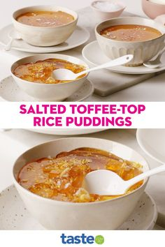 Made with cream and condensed milk, these individually-served rice puddings are next level creamy. They are topped with a hard layer of set toffee that makes a very satisfying crunch when you dig in. We love a good sweet and salty combo here, but if it's not to your liking you can always leave off the sea salt flakes at the end. Rice Puddings, Self Saucing Pudding, Sea Salt Flakes, Condensed Milk, Pudding Recipes, Sweet And Salty, Toffee, Cream, Breakfast