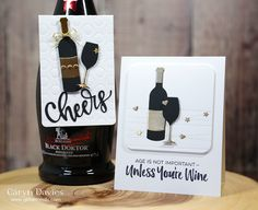 Im happy to be sharing a card and bottle tag today dedicated to one of my favourite hobbies wine! The brand new release from MFT Stamps features a really fun stamp set called Wine Bottle Tags, Wine Bottle Covers, Wine Tags, Wine Bottles, Wine Quotes, Wine Sayings, Diy Birthday Decorations, Wine Decor, Diy For Men