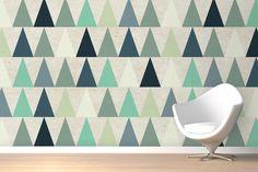 Blue Triangles Design Wall Mural