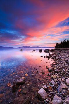 Sunset at Lake Tahoe, photographed at Sugar Pine Point State Park