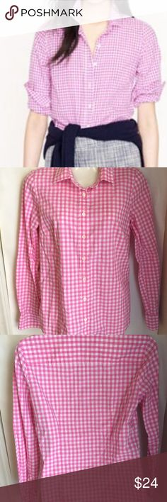 J. Crew The Perfect Shirt 2 pink white gingham J. Crew Perfect Shirt Size 2 - pink white gingham check plaid - button down   Fabric: 100 percent cotton  J. Crew's iconic The Perfect Shirt. Crisp and classic.  Excellent condition. J. Crew Tops Button Down Shirts