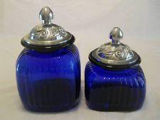 Set Of 2 ARTLAND Cobalt Blue Kitchen Canisters Cookie Jar ~Silver Pewter  Lids
