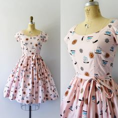 """211 Likes, 9 Comments - Sweet Bee Finds (@sweetbeefinds) on Instagram: """"SOLD ---⚓️ 1950s Pink cotton """"Nautical"""" print dress, fitted bodice, scoop neck, capped sleeves,…"""""""