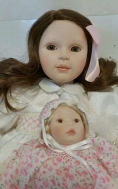 """Little Trudy Porcelain Doll Pauline Bjonness Jacobsen Signed 18"""" IOB White Dress #Dolls"""