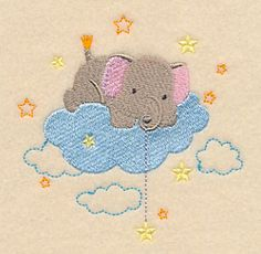 Wish Upon A Star Elephant design (M12891) from www.Emblibrary.com
