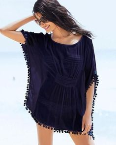 8836a8ad72 Elegant Breezy Pom Pom Gathered Women s Beach Cover Up One Size 2 Colors