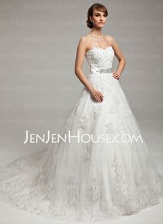 Wedding Dresses - $226.69 - Ball-Gown Sweetheart Chapel Train Satin Tulle Wedding Dress With Lace Beadwork (002017538) http://jenjenhouse.com/Ball-Gown-Sweetheart-Chapel-Train-Satin-Tulle-Wedding-Dress-With-Lace-Beadwork-002017538-g17538