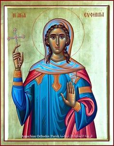 Holy Great Martyr and All-Praised Euphemia Together With the Holy Martyrs Victor an. Byzantine Icons, Byzantine Art, Religious Images, Religious Art, Christian Mysticism, Catholic Saints, Holy Ghost, Orthodox Icons, Renaissance Art