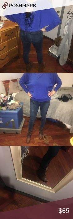 BUNDLE - Blue Lace Blouse W/ Brown Combat Boots These two products can be bought separately or together for a discount. Blue Blouse is perfect for work and has lace in the back. Can be worn with shirt underneath. Brown combat boots are Steve Madden size 7. Steve Madden Other
