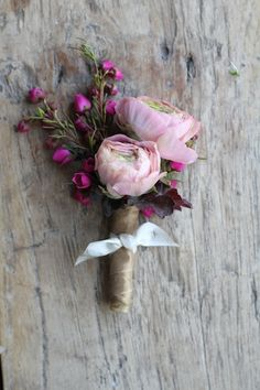 Ranunculus buds with sweet william. #wedding #boutonniere