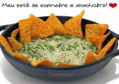PANELATERAPIA - Blog de Culinária, Gastronomia e Receitas: Patê de Espinafre e Alcachofra