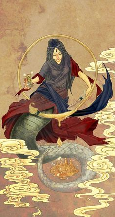 """""""Nu Gua The Chinese creator goddess who created the first humans from yellow earth, after Heaven and Earth had separated. Since this process was too tedious and time-consuming she dipped a rope into mud and then swung it about her. Soon the earth..."""