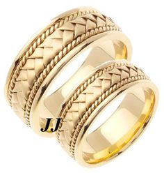 Yellow Gold Hand Braided Wedding Band Set 8mm YG-151S [YG-151S] - $759.99 : Diamonds, Engagement Rings, Wedding Bands, His and Hers Sets, America's Largest Engagement Ring and Wedding Band Distributor.