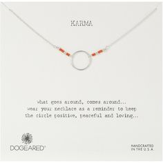 Dogeared Karma with Sterling Silver Tiny Coral Seed Bead Necklace,... ($62) ❤ liked on Polyvore featuring jewelry, necklaces, sterling silver jewellery, seed bead jewelry, sterling silver necklaces, dogeared necklace and dogeared jewelry