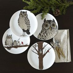 These little Owl Dessert Plates from west elm would look so cute in shadow boxes as art in the kitchen or dining room!