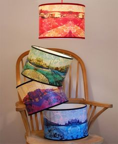 Radiance Lighting's caravan of love range of lampshades feature colourful collage designs. The designs combine photographic imagery printed onto paper with a polymer lacquer finish.