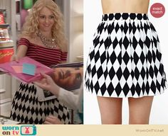 Carrie's black and white diamond print skirt and pink striped crop top on The Carrie Diaries. Outfit Details: http://wornontv.net/21364 #TheCarrieDiaries #TheCW