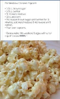 Marshmallow popcorn - extremely easy and fast. I only had to microwave for minutes. Very Tasty. 13 Mini marshmallows can be substituted for regular Popcorn Recipes, Snack Recipes, Dessert Recipes, Cooking Recipes, Desserts, Popcorn Snacks, Sweet Popcorn, Carmel Popcorn Balls Recipe, Popcorn Toppings