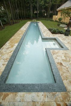 Discover 32 lap pool designs for your inspiration. Browse photos of backyard lap pools. Lap pool designs for small yards and narrow landscapes. Backyard Pool Designs, Small Backyard Pools, Small Pools, Swimming Pools Backyard, Swimming Pool Designs, Pool Landscaping, Outdoor Pool, Indoor Outdoor, Indoor Swimming