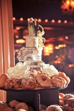 A creative wedding dessert and topper